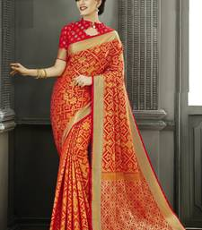 Buy Red Jacquard Patola silk saree with blouse patola-sari online