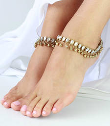 Buy Anklets payal pair gold plated kundan bells  anklet online