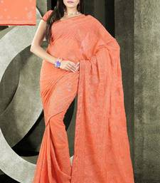 Buy Peach color embroidered designer saree chiffon-saree online