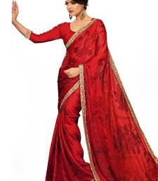 Buy Riti Riwaz red chiffon saree with unstitched blouse printed-saree online
