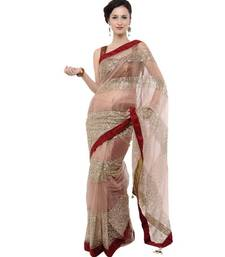 Buy Priyanka Chopra Beige Color Net Saree priyanka-chopra-saree online