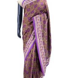 Buy Brown & purple printed crepe silk saree with purple border - SR5005 printed-saree online