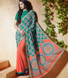 Buy Sea green printed crepe saree with blouse party-wear-saree online