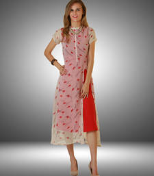 Buy Cream printed georgette kurtas-and-kurtis kurtas-and-kurti online