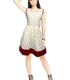 Buy Cream printed cotton short-kurtis short-kurti online