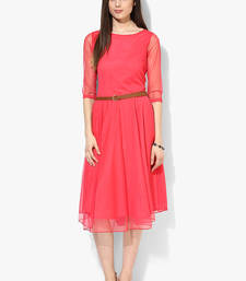 Buy Peach plain net short-kurtis short-kurti online