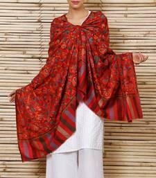Buy Red kani pashmina Blend Shawl shawl online