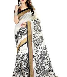 Buy white printed cotton saree with blouse Woman online