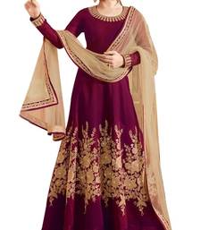Buy Maroon embroidered silk salwar with dupatta semi-stitched-salwar-suit online