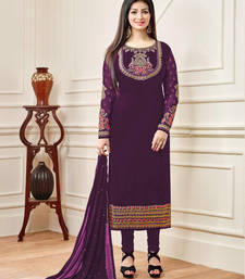 Buy Purple resham embroidery pure silk salwar with dupatta semi-stitched-salwar-suit online