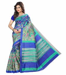 Buy Blue printed bhagalpuri saree with blouse ethnic-saree online