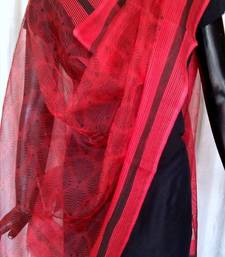 Buy Hand Block Print Organza Dupatta- Red&Black stole-and-dupatta online
