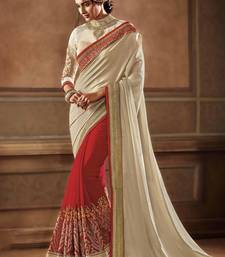 Buy Off white embroidered georgette saree with blouse wedding-saree online