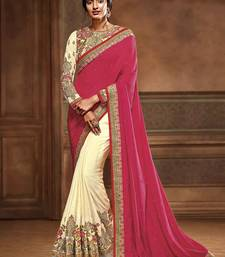 Buy Dark pink embroidered crepe saree with blouse wedding-saree online