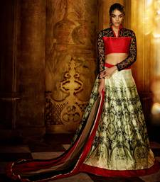 Buy Multicolor printed art silk unstitched lehenga bollywood-lehenga online
