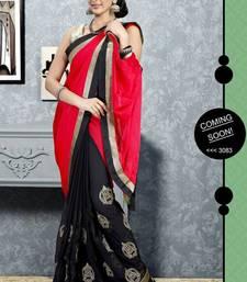 Buy Red color embroidered designer saree satin-saree online