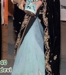 Buy Sridevi Toronto Film Festival Black Velvet Pallu Saree sridevi-saree online