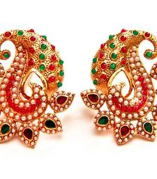 Buy Paisely Halfmoon Studded Earrings -  Multi Color danglers-drop online
