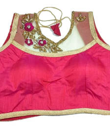 Buy Pink Banglore Silk Crystal stitched blouse readymade-blouse online