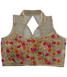 Buy Beige Banglore Silk Embroidered stitched blouse readymade-blouse online