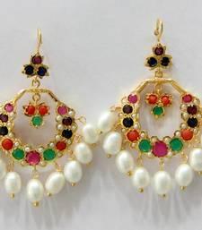 Buy ETHENIC POLKI NAVRATAN N REAL WHITE PEARLS HANGINGS IN CHAND BALI STYLE Earring online