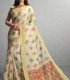 Buy cream woven cotton saree with blouse cotton-saree online