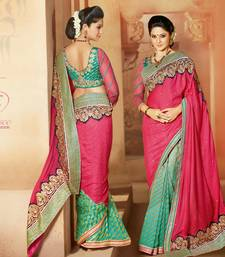 Buy Styloce Mgenta-Green Silk Bhagalpuri Designer Embroidery Saree bhagalpuri-silk-saree online