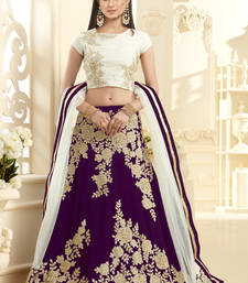 Buy Purple hand woven georgette unstitched lehenga bollywood-lehenga online