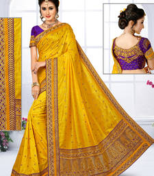 Buy Yellow hand woven jute saree with blouse jute-saree online