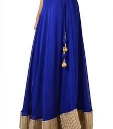 Buy  Georgette Blue Gotta Patti Skirt with Tassel lehenga-choli online