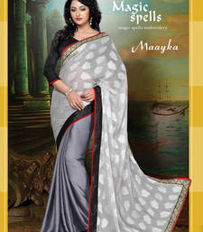 Buy Designer Embroidered Degital Printed Saree With Unstiched Blouse brasso-saree online