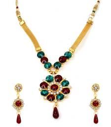 Buy Diva Style Me Red Green Pendant Earrings Set Pendant online