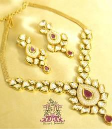 Kundan Paisley Ruby Necklace Set  shop online