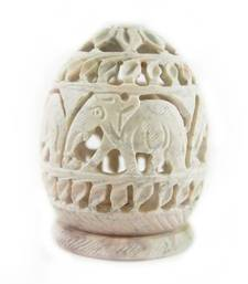 Buy  Oval carved stone candle holder (elephant design) candle online