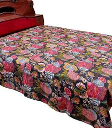 Buy Multicolor Katha Thread Work Double Bed Cover bed-sheet online
