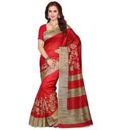 Buy Multicolor printed bhagalpuri silk saree with blouse below-300 online