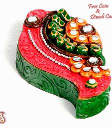 Buy Kundans, Clay and wood painted Shankh Kumkum Chopra diwali-decoration online