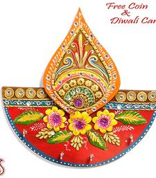 Buy Diya Design Wood and Clay Art Key Hanger - Diwali offers diwali-decoration online