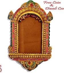 Buy Traditional Palace Window Photo Frame with Wood and Clay Art diwali-decoration online