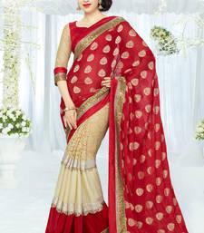 Red&Cream  coloured Designer Net Saree with blouse piece shop online