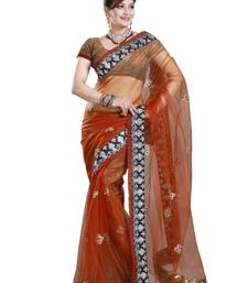 Buy RUST NET PARTY WERE SAREE WITH BLOUSE net-saree online