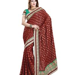 Buy MAROON VISCOSS PARTY WERE SAREE WITH BLOUSE viscose-saree online