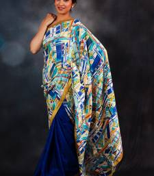 Buy Abstract-print & Blue Half & Half silk-saree online