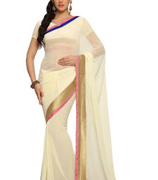 Buy Off white Embroidered Faux georgette Saree With Blouse (1561) georgette-saree online