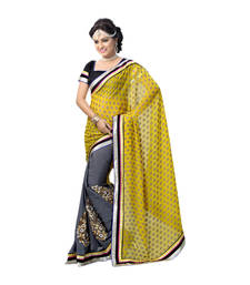 Buy Hypnotex Yellow Grey Embroidered Georgette Chiffon Saree With Blouse bridal-saree online