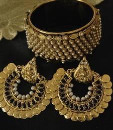 Buy Ram Leela Black Earrings with Moti Kada bangles-and-bracelet online
