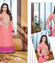 Light Pink embroidered georgette  Semi Stitch party-wear-salwar-kameez shop online