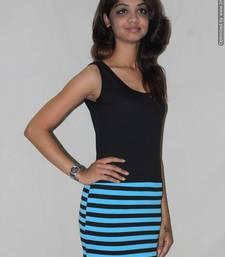 Buy Black and blue lycra dress dress online