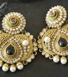 Buy Traditional Black colour Earring with Ruby stone danglers-drop online