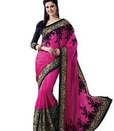 Pink, Black embellish Sartin Chiffon Designer Saree With Blouse shop online